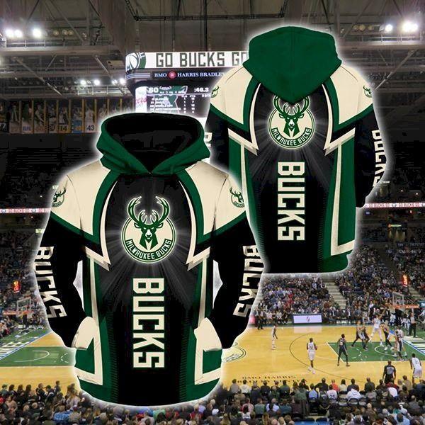 Milwaukee Bucks Pullover And Zippered Hoodies Custom 3D Graphic Printed