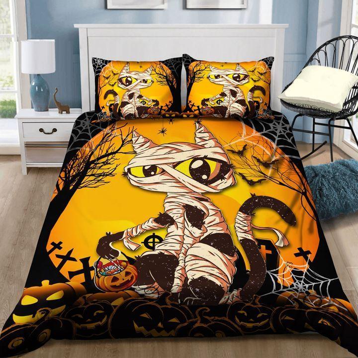 Mummy Black Cat Halloween Bedding Set