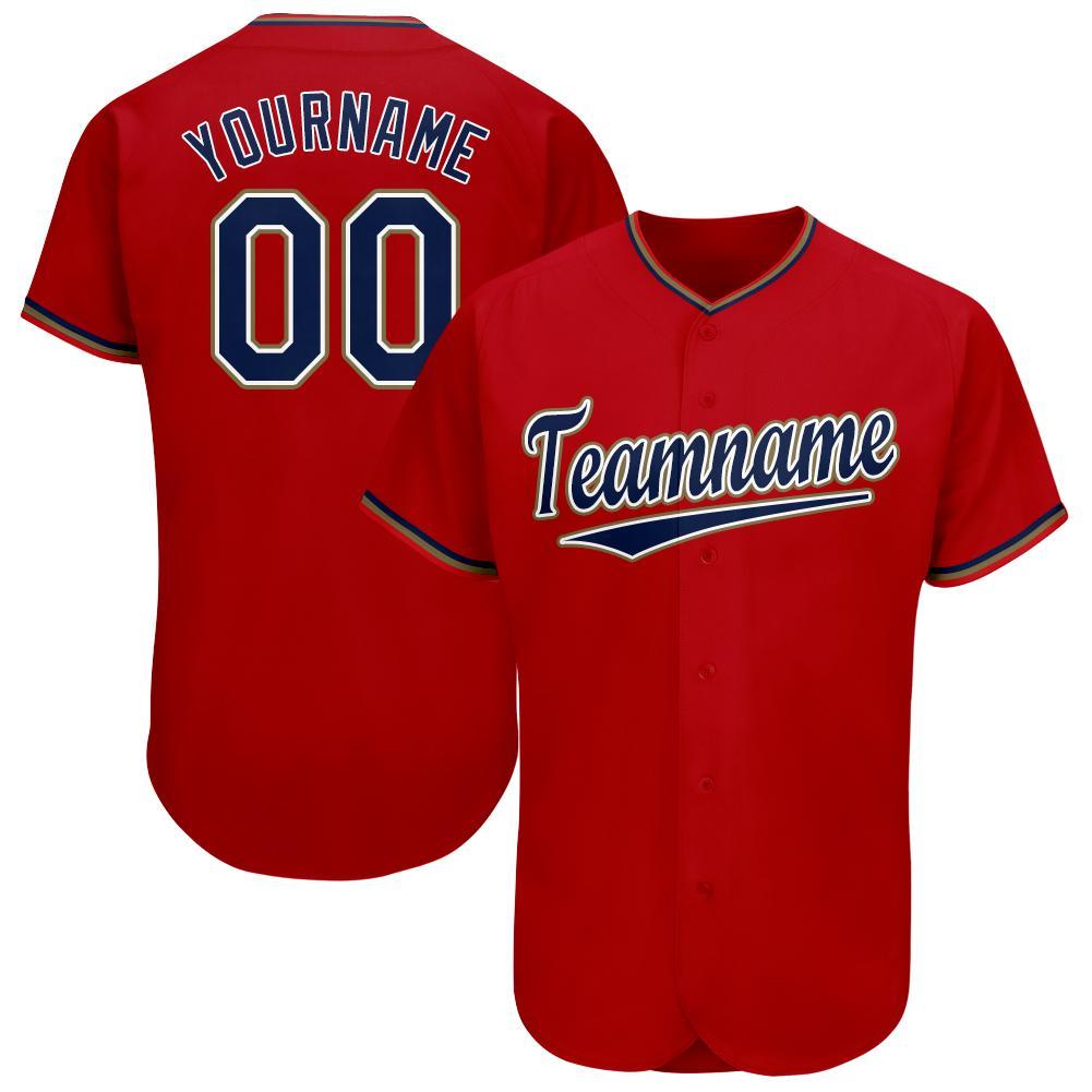Custom Red Navy-Old Gold Baseball Jersey