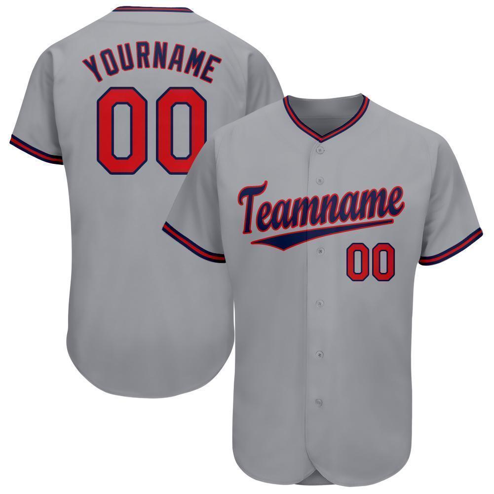 Custom Gray Red-Navy Baseball Jersey