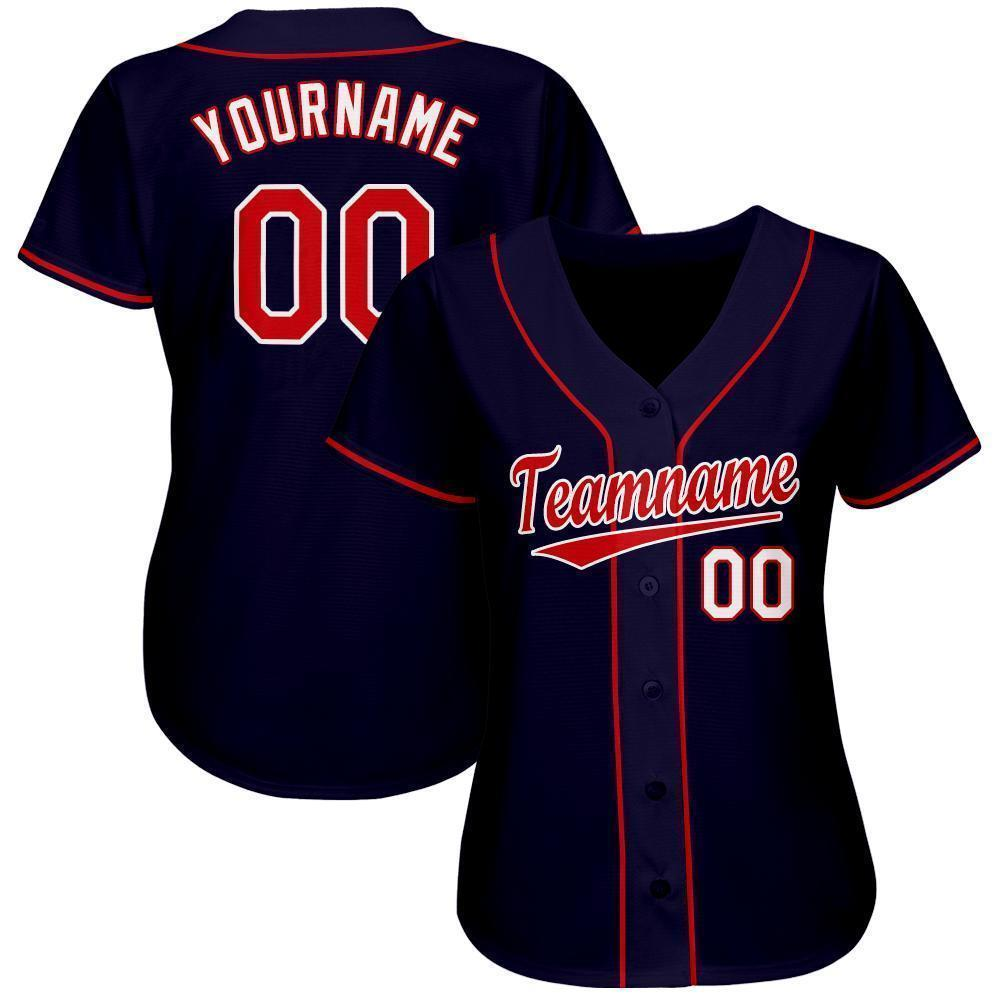 Custom Team and Number Navy Red-White Baseball Jersey