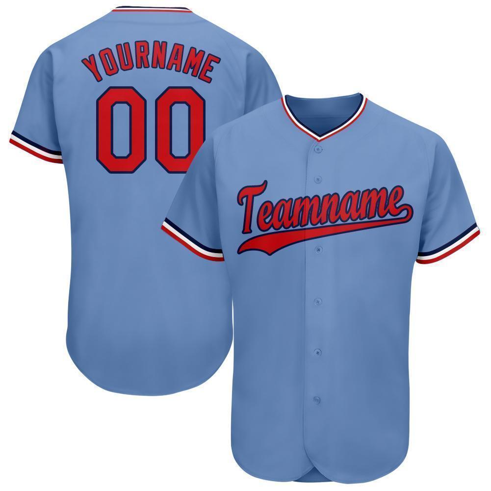 Custom Name and Number Light Blue Red-Navy classic Baseball Jersey