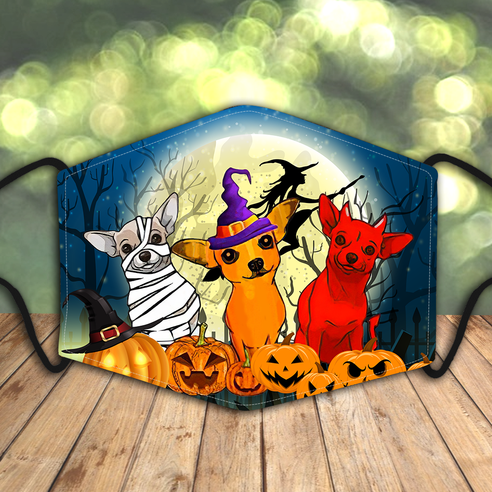 Dachshund Halloween Big Moon AOP face mask