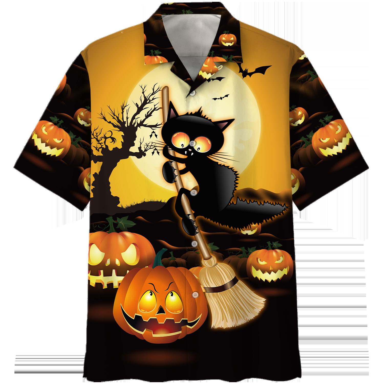 Black Cat Broom Sweep Halloween Hawaiian Shirt