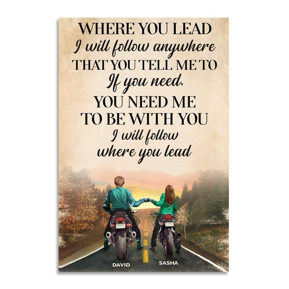 Biker Couple Where you lead Personalized Poster