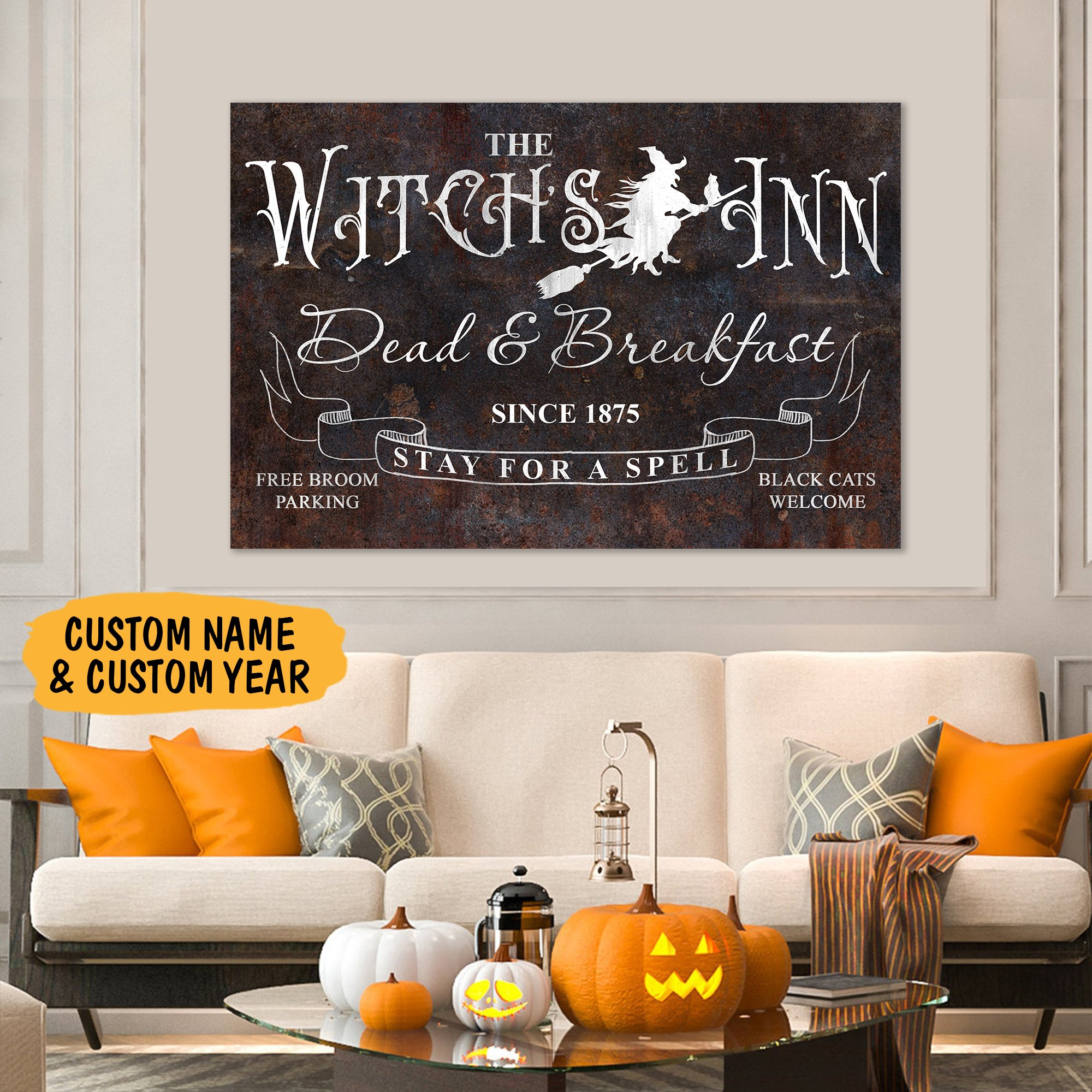 The Witch Spell Stay for a Spell Personalized Canvas