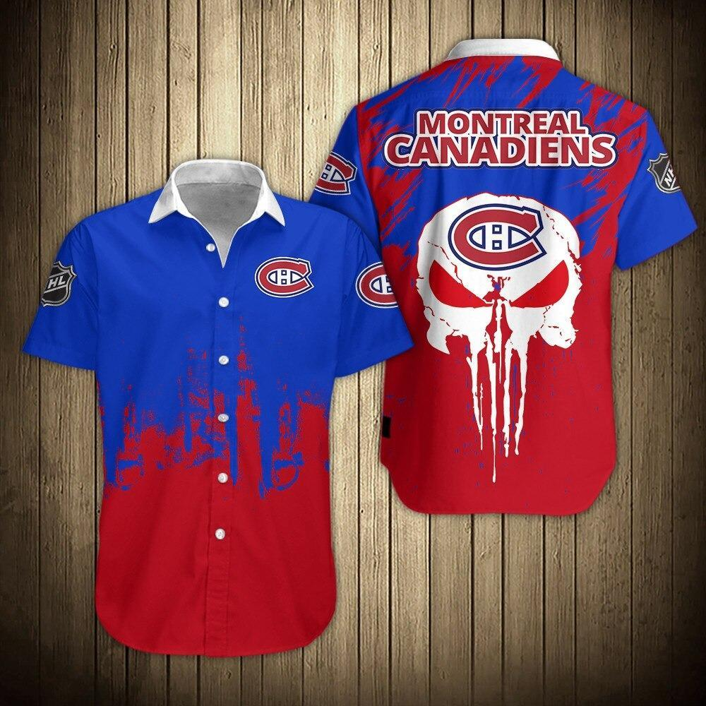 NHL Montreal Canadiens Skull Short Sleeve Hawaiian Shirt