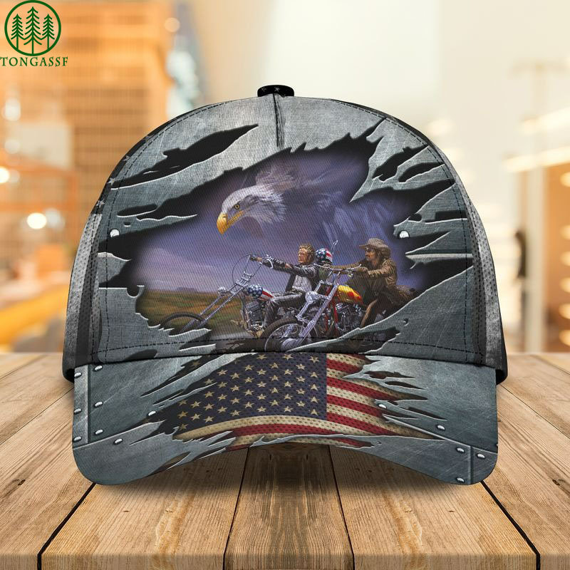 motorcycle eagle usa flag cap