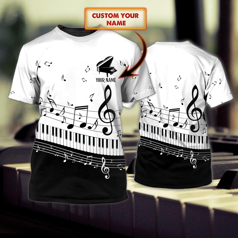 PIANO Lover White 3D Tshirt