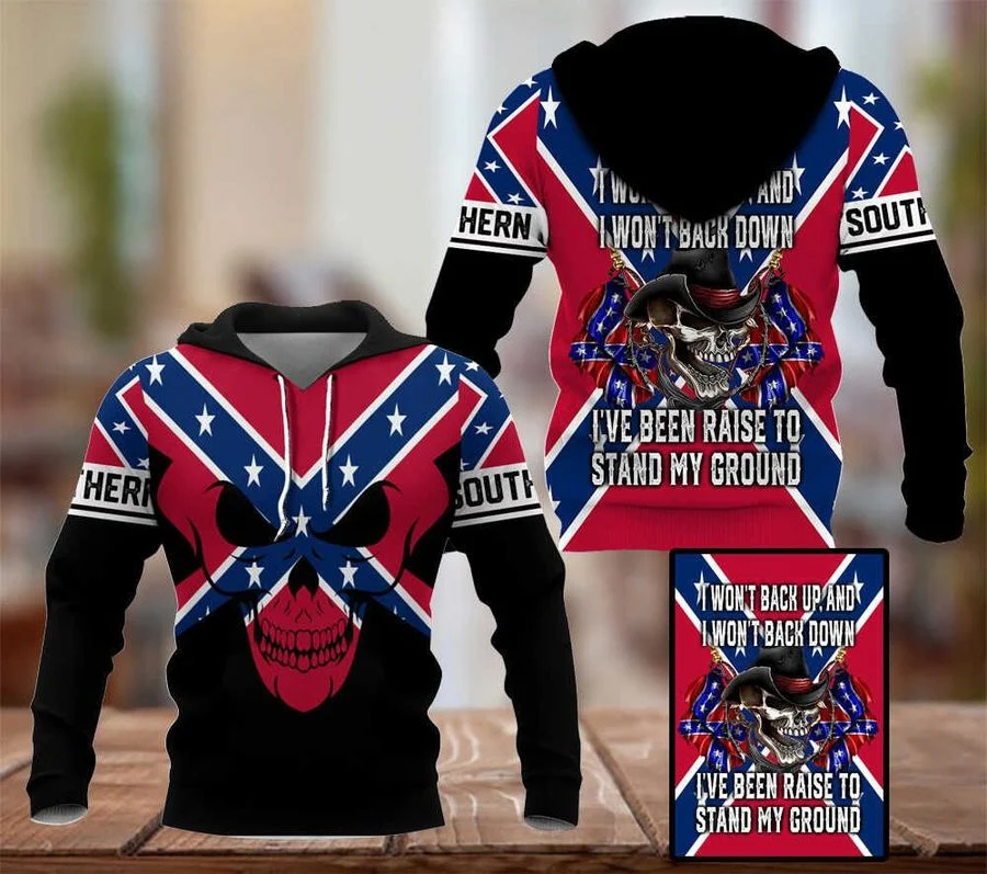 Skull Southern Rebel back up back down stand my ground 3D Hoodie