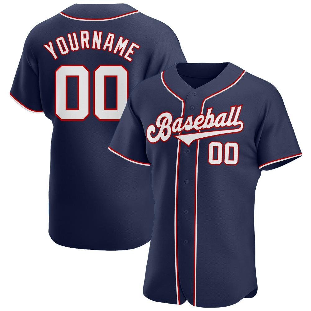 Custom Navy White-Red Authentic Baseball Jersey