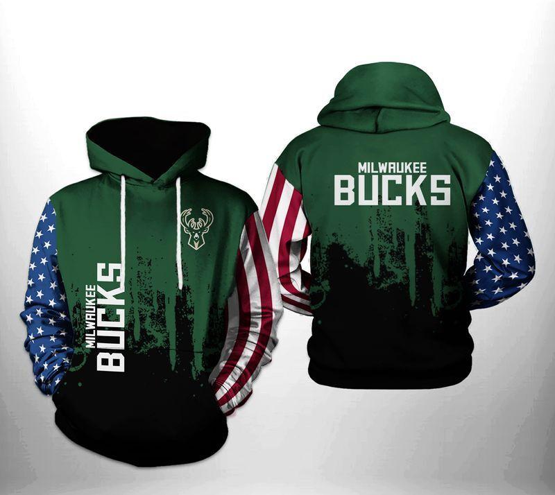 Nba Milwaukee Bucks USA Flag Green 3d Hoodie