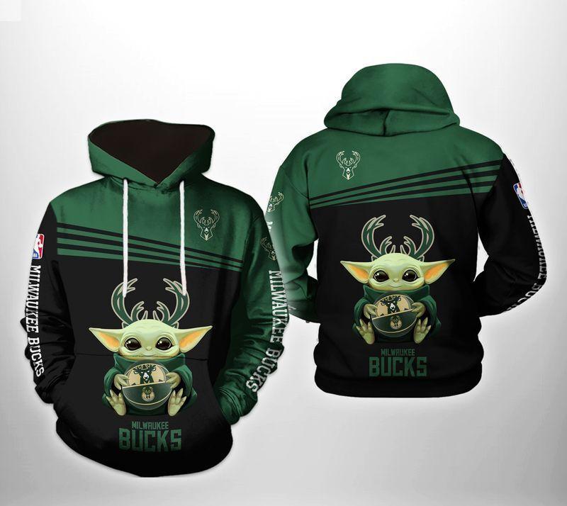 Nba Yoda Milwaukee Bucks 3d Hoodie