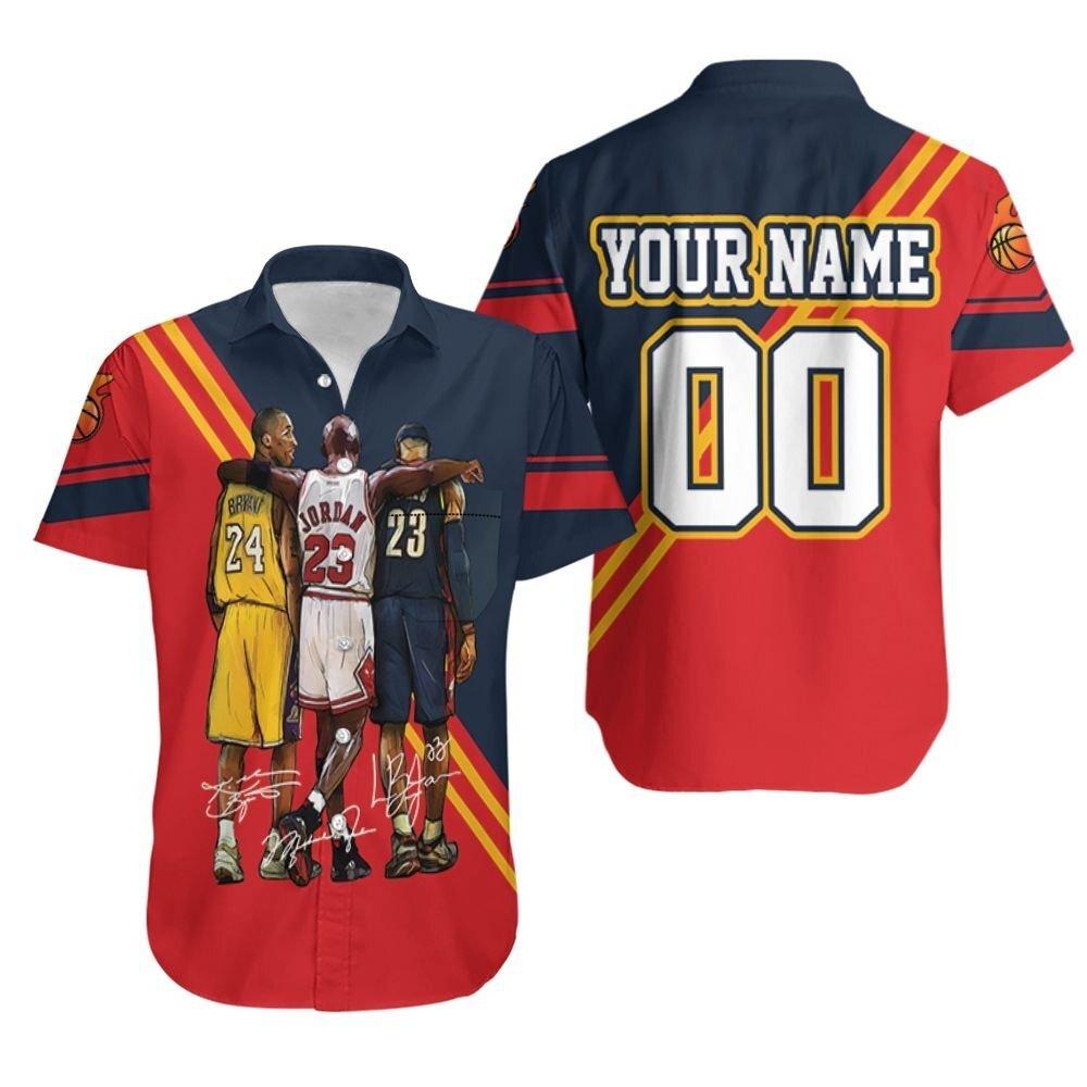 Nba Legend Kobe Bryant Michael Jordan Lebron James Signatures Personalized Hawaiian Shirt