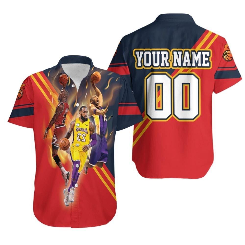 Nba Legends Michael Jordan Kobe Bryant Lebron James Signed Personalized Hawaiian Shirt