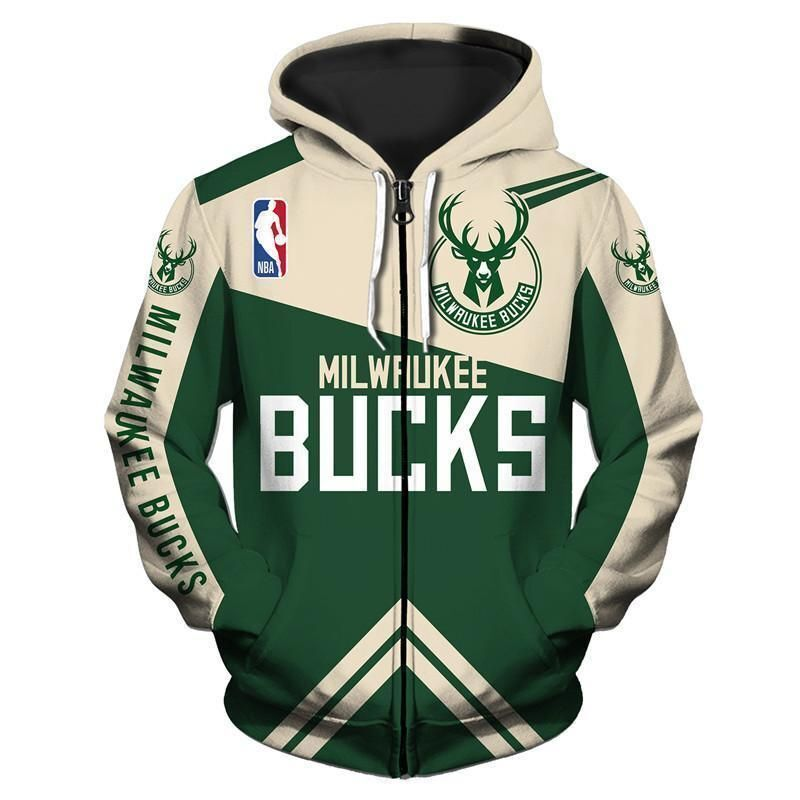NBA Milwaukee Bucks Zip Hoodie 3D