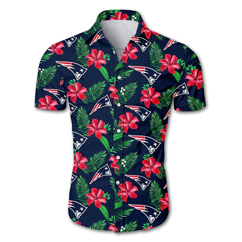 New England Patriots Hawaiian Shirt Floral