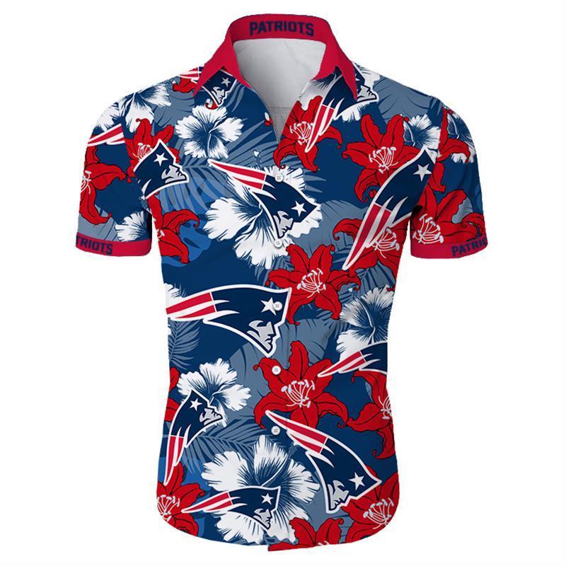 New England Patriots Hawaiian Shirt Tropical Flower