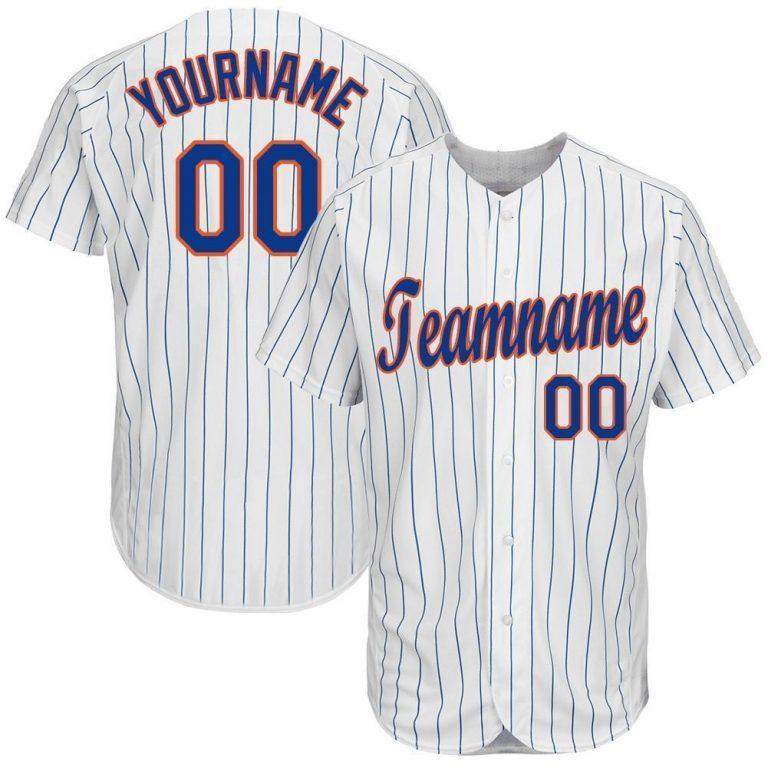 Custom White Royal Pinstripe Royal-Orange Baseball Jersey