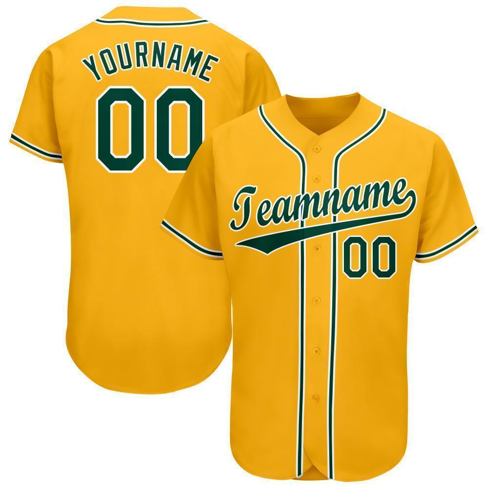 Personalized Gold Green-White Baseball Jersey for team