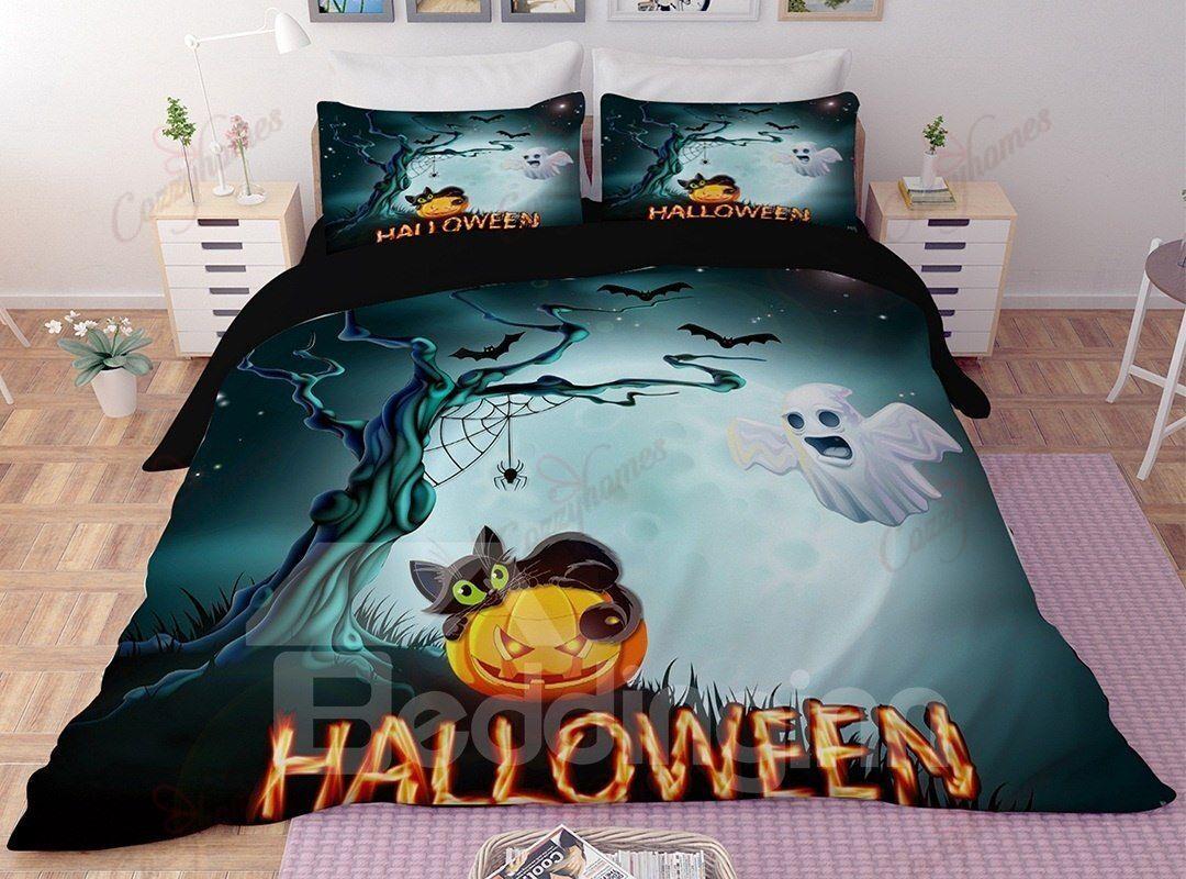 Black Cat And JackO Lanterns Halloween Bedding Set