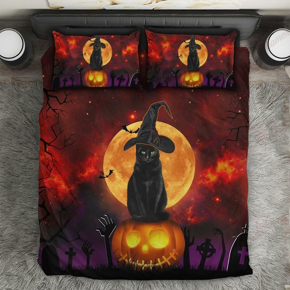 Black Cat Witch at cemetery Halloween Bedding Set