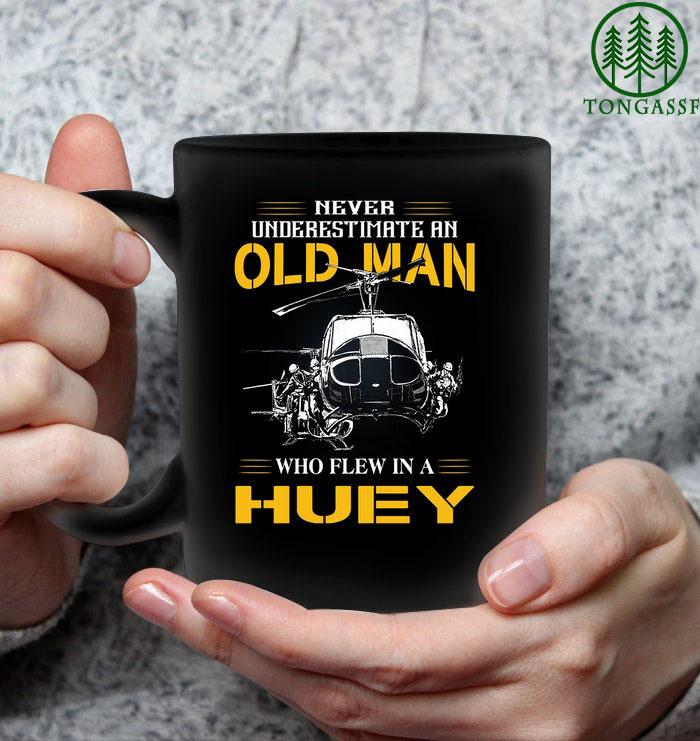 Old man flew in a huey ceramic mug