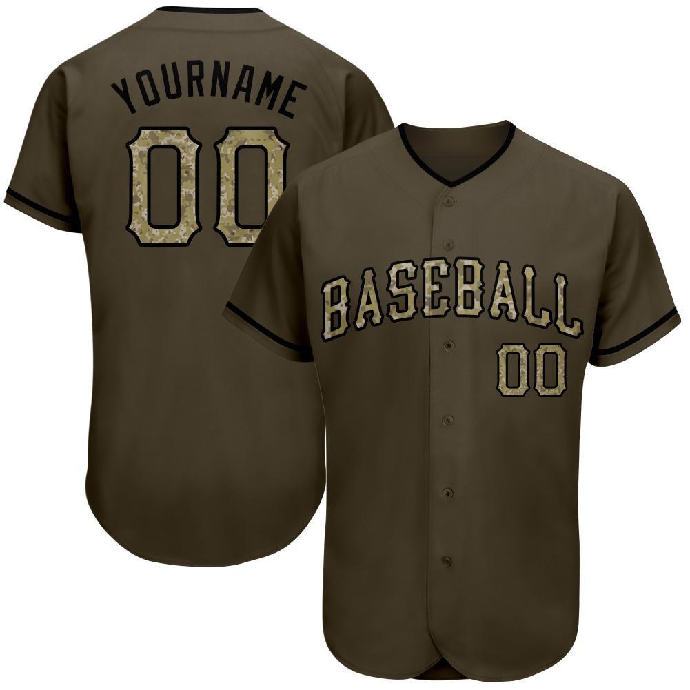 Custom Olive Camo-Black Authentic Modern style Baseball Jersey