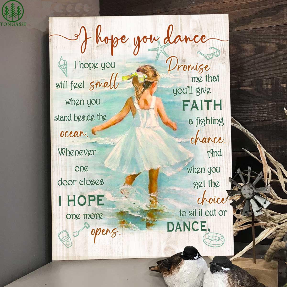 On beach faith hope little Girl dance canvas