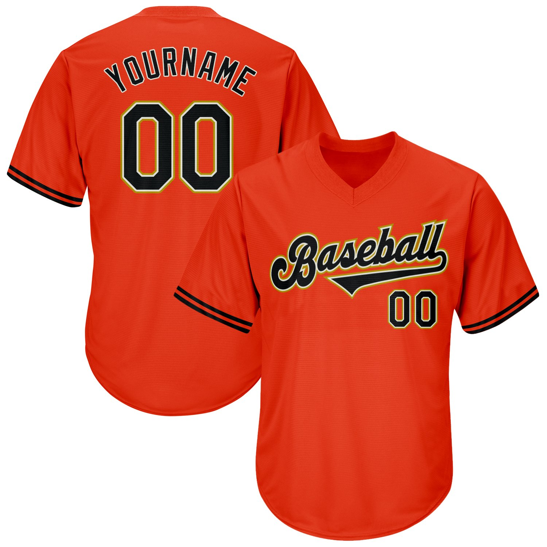 Custom Orange Black-Old Gold Authentic Throwback Rib-Knit Baseball Jersey Shirt