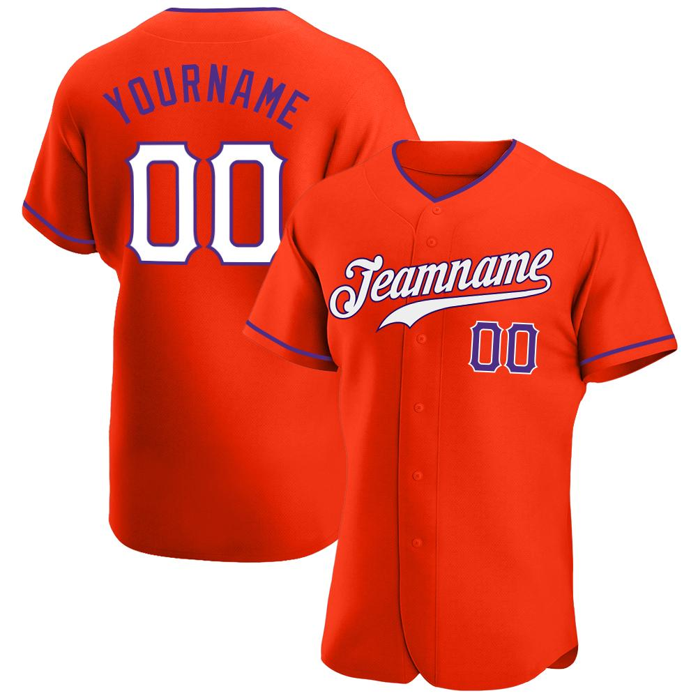 Custom Orange White-Purple Authentic Baseball Jersey