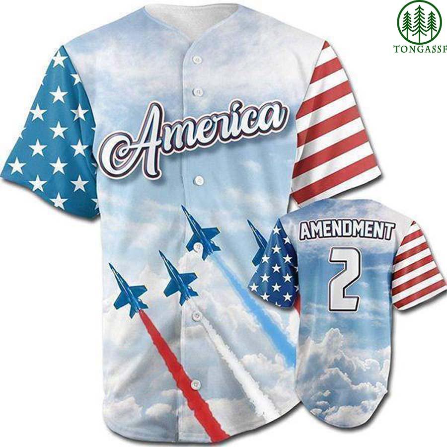 USA 2nd Amendment airplane baseball jersey shirt