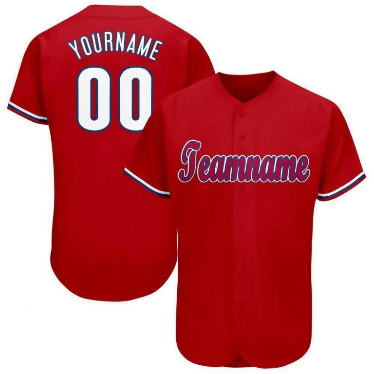 Custom Red White-Royal Baseball Jersey