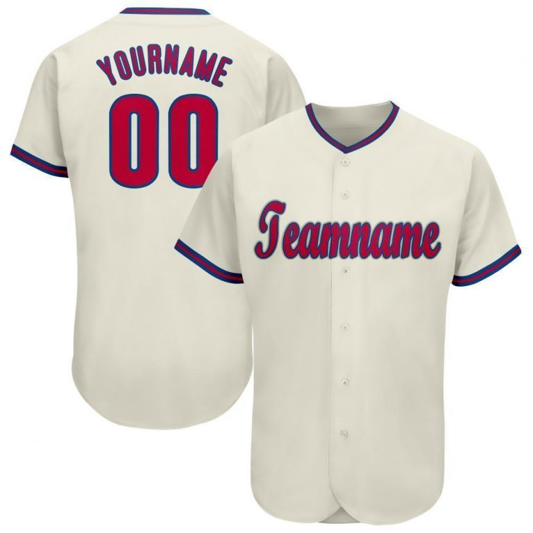 Custom Cream Red-Royal Baseball Jersey