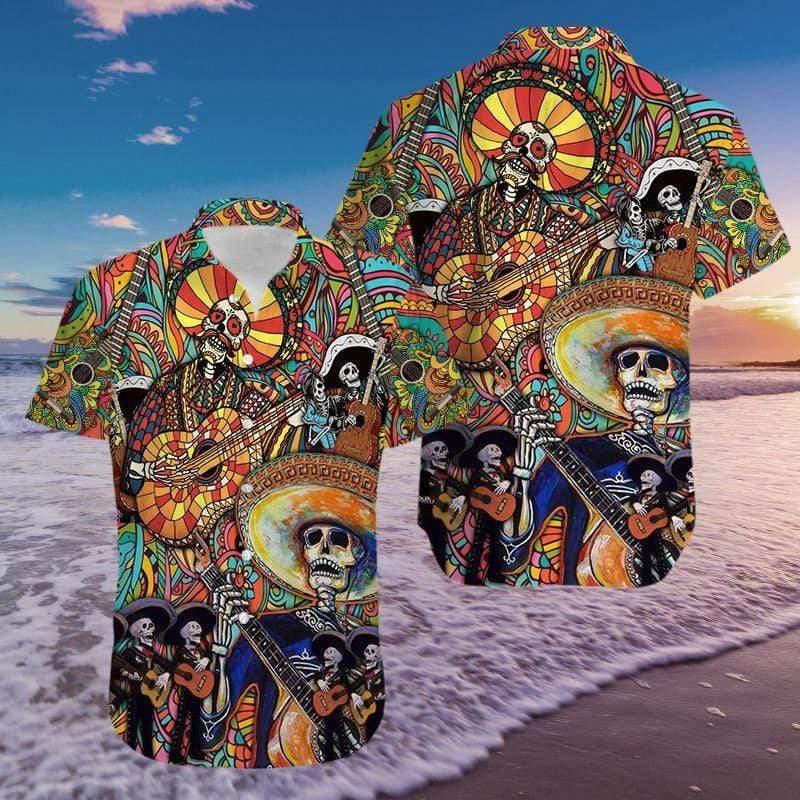 Lets Play A Guitar Skull Mexican Style Hawaiian Aloha Shirts