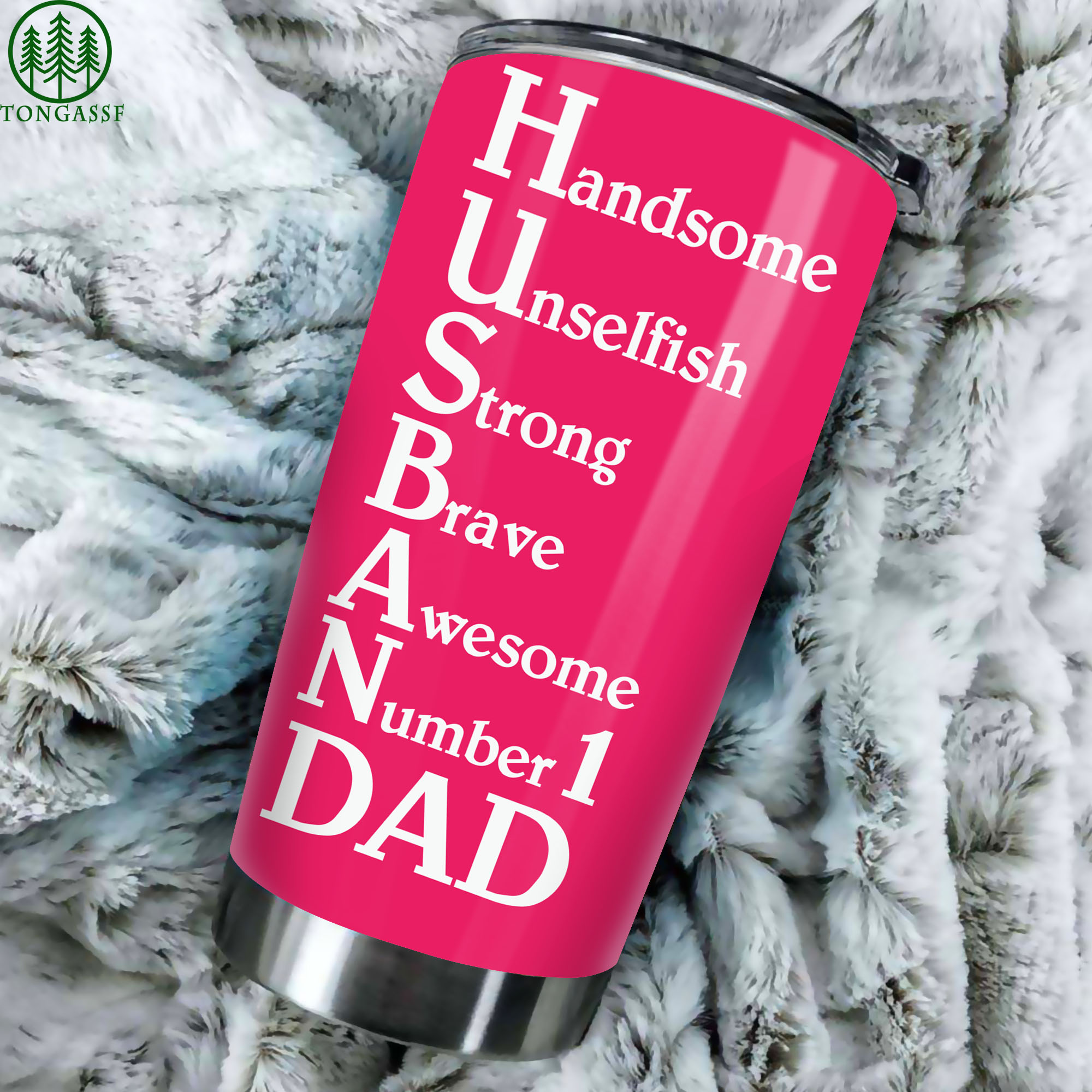 Pink handsome awesome number 1 Dad Tumbler