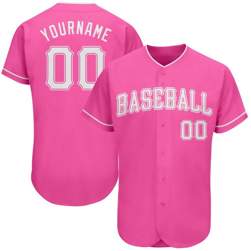Custom Name and Number Pink White Authentic classic Baseball Jersey