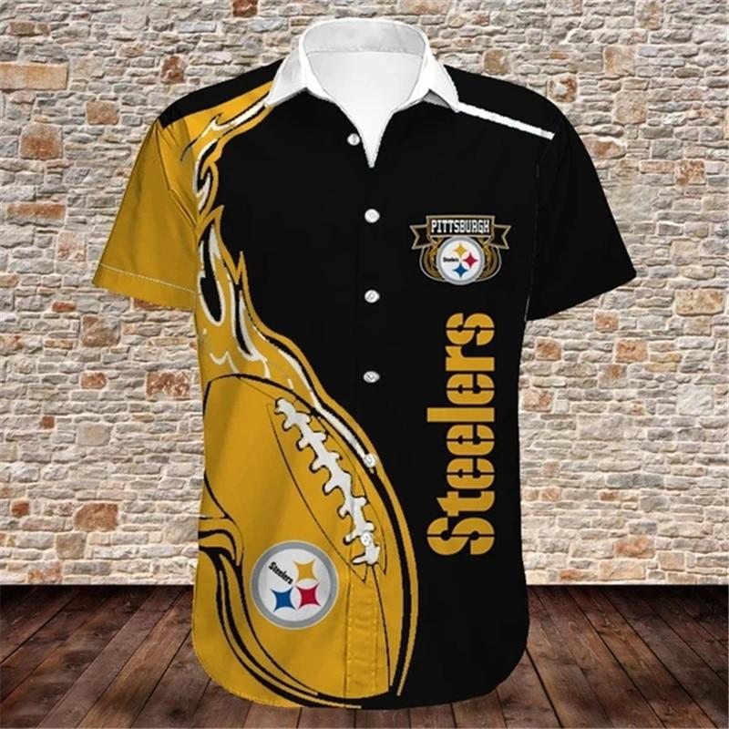 Pittsburgh Steelers Shirts Fireball Button