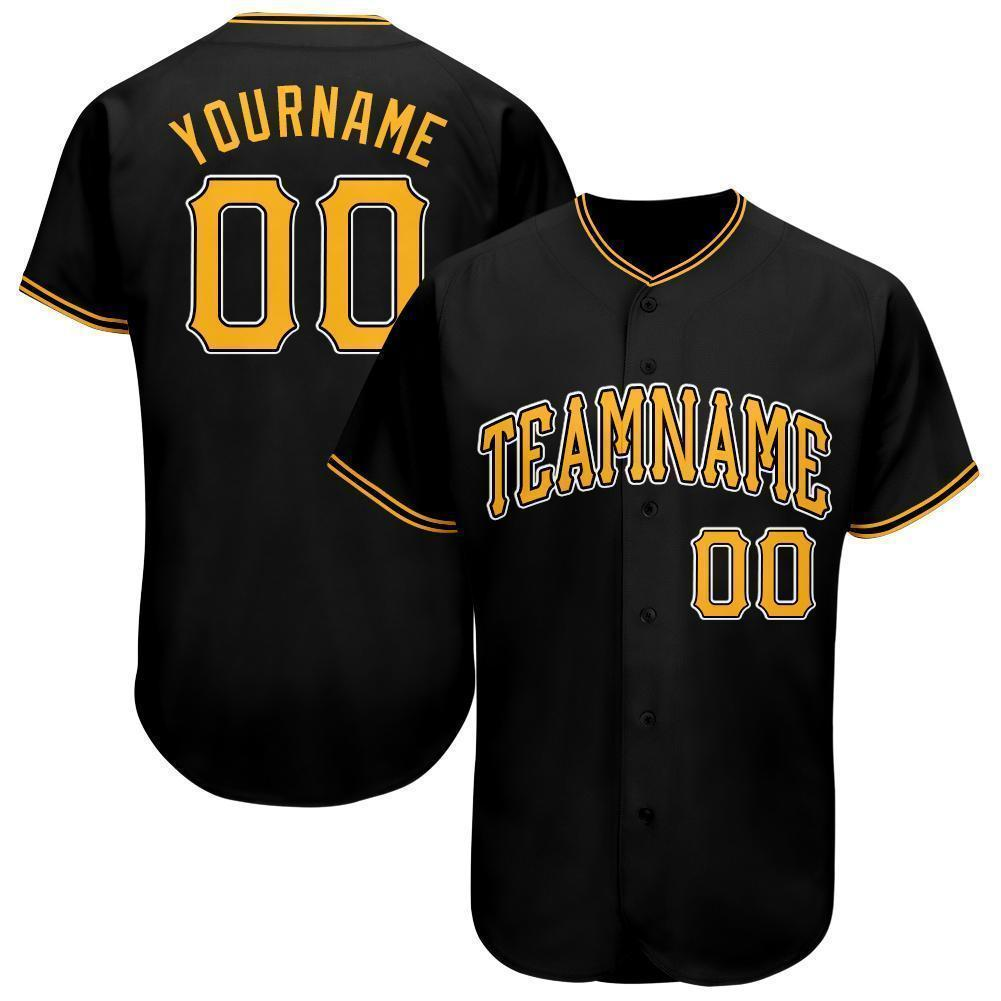 Custom Black Gold-White Baseball Jersey Shirt for team