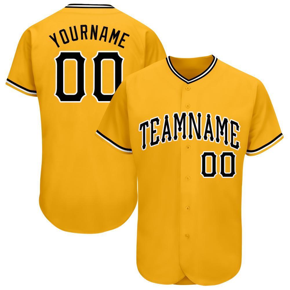 Custom Name and team Gold Black-White Baseball Jersey