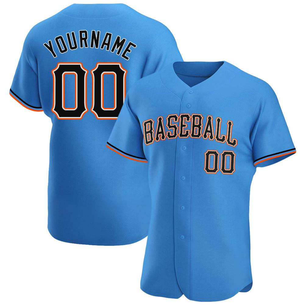 Custom Powder Blue Black-Orange Authentic Baseball Jersey