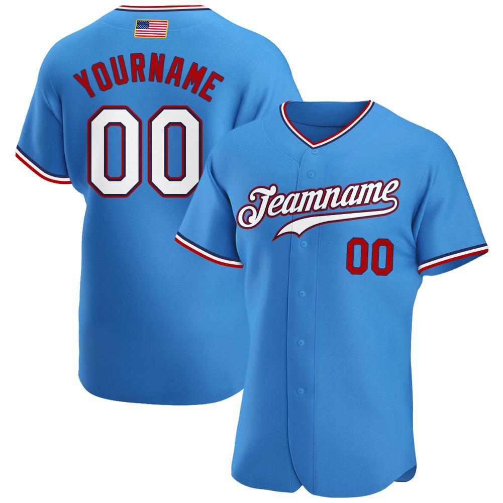 Custom Powder Blue White-Red Authentic American Flag modern style Baseball Jersey