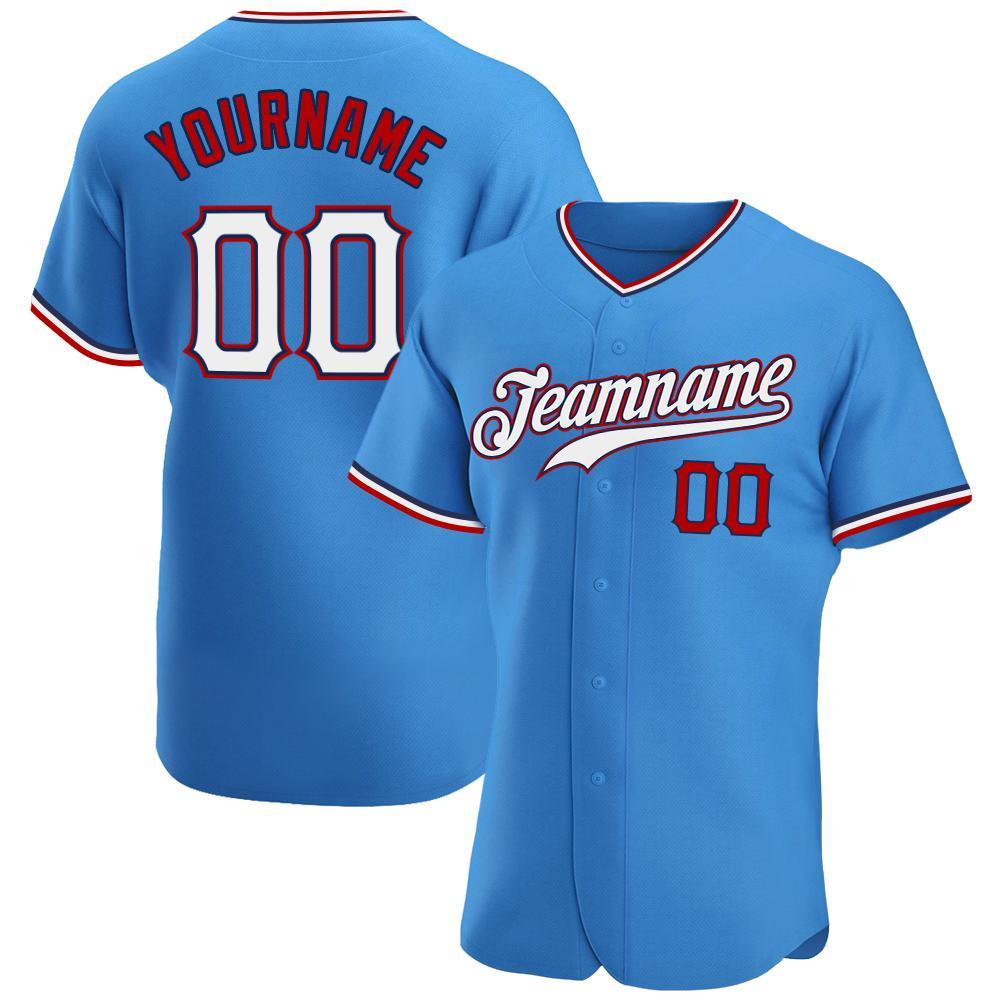 Custom Powder Blue White-Red Premium Baseball Jersey
