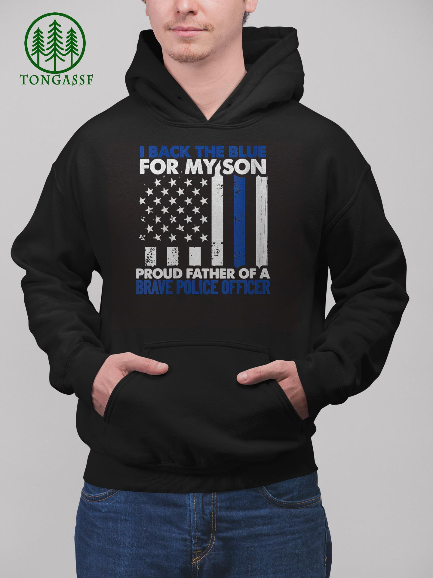 Womens I Back The Blue For My Son Proud Father Of A Police Officer V Neck T Shirt