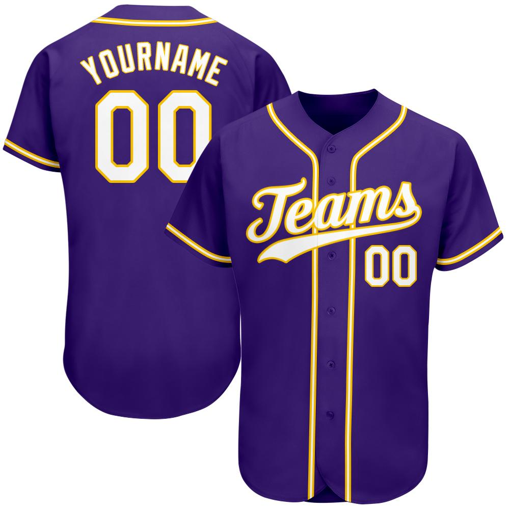 Personalized Team and Number Purple White-Gold Authentic Baseball Jersey
