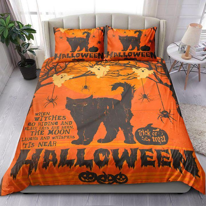 Black Cat with ghost and spider Halloween Bedding Set