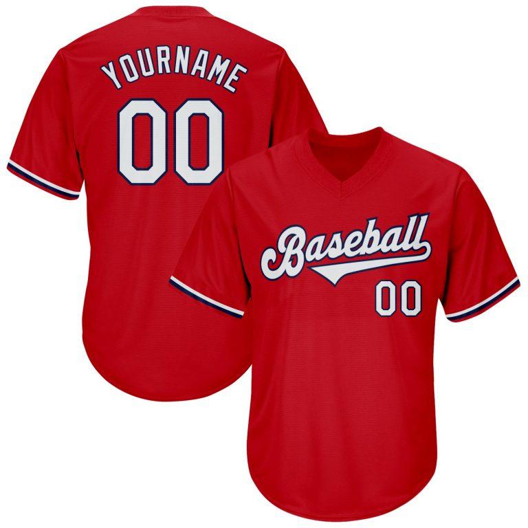 Custom Red White-Navy Authentic Throwback Rib-Knit Baseball Jersey Shirt