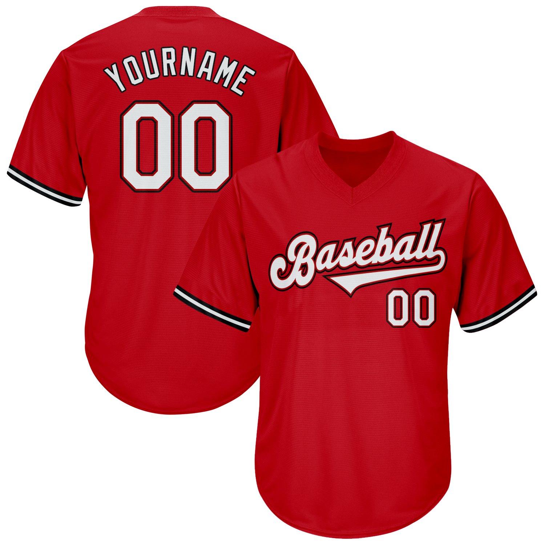 Custom Red White-Black Authentic Throwback Rib-Knit Baseball Jersey Shirt
