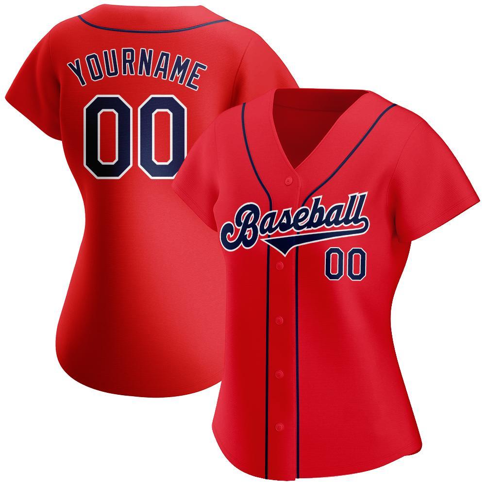 Custom Red Navy-White Authentic Baseball Jersey