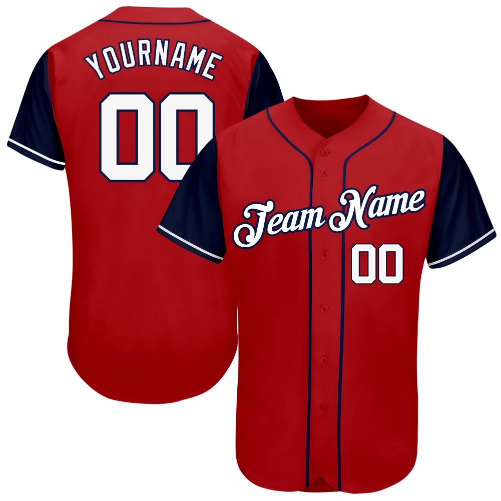 Custom Red White-Navy Authentic Baseball Jersey